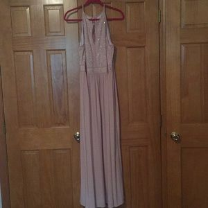 Blush Halter Keyhole With Jersey Skirt Dress